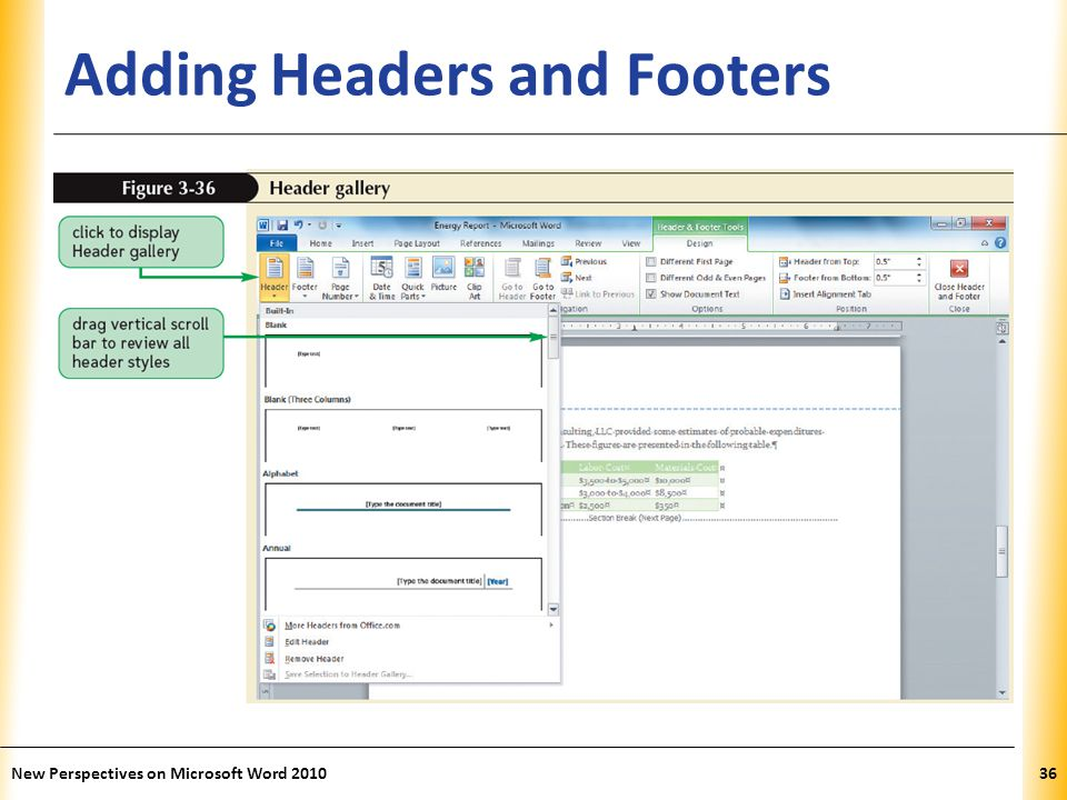 XP Adding Headers and Footers New Perspectives on Microsoft Word 201036