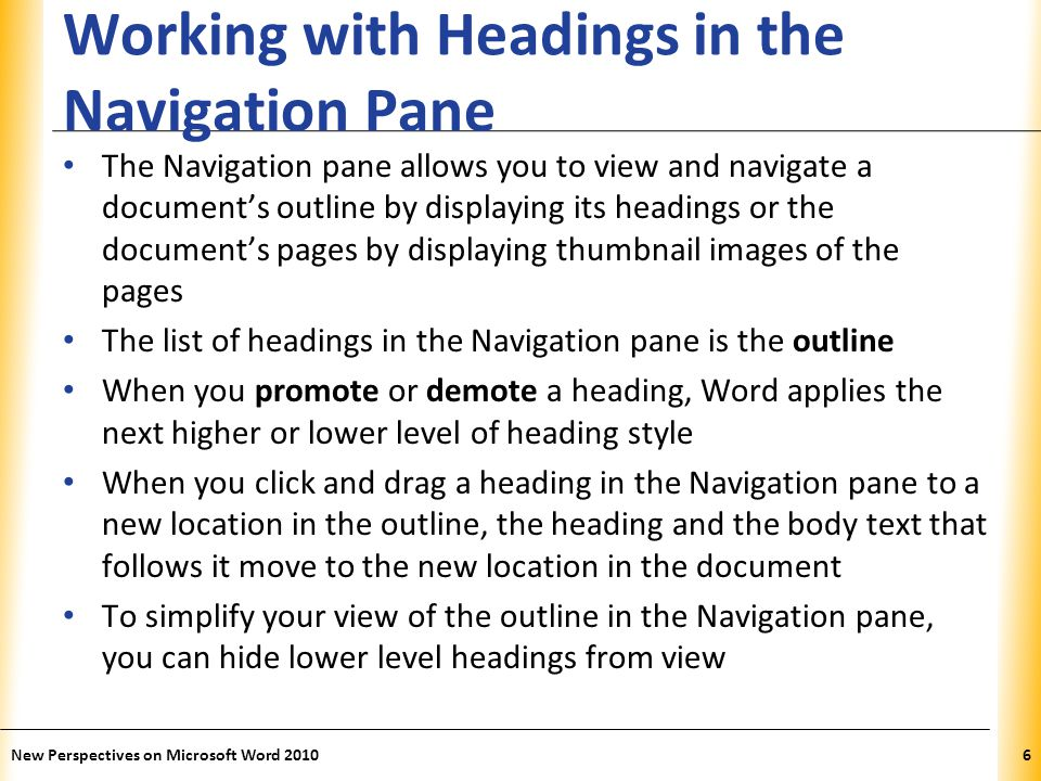 XP Working with Headings in the Navigation Pane New Perspectives on Microsoft Word 20107