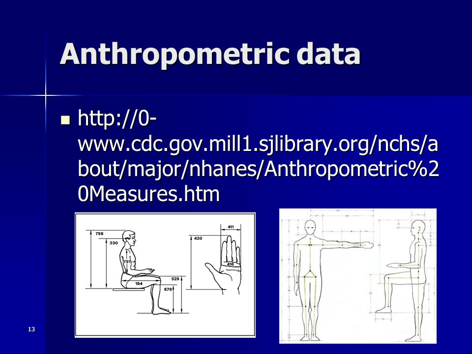 13 Anthropometric data http://0- www.cdc.gov.mill1.sjlibrary.org/nchs/a bout/major/nhanes/Anthropometric%2 0Measures.htm http://0- www.cdc.gov.mill1.sjlibrary.org/nchs/a bout/major/nhanes/Anthropometric%2 0Measures.htm