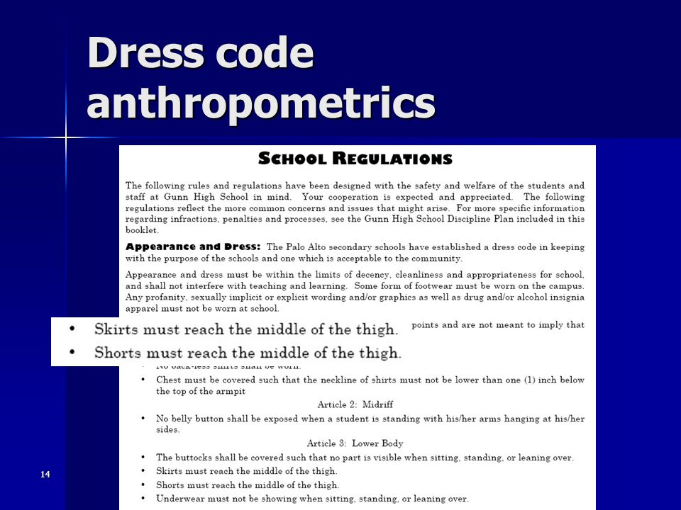 14 Dress code anthropometrics