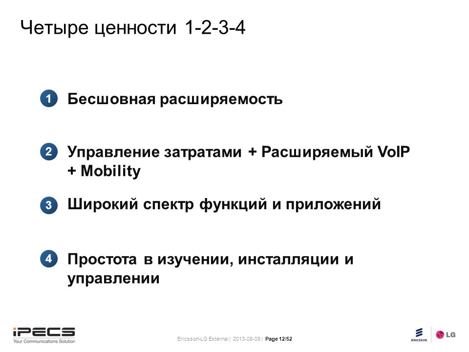Ericsson-LG External | 2013-08-09 | Page 12/52 Slide title 30 pt Text and bullet level 1 minimum 24 pt Bullets level 2-5 minimum 20 pt Do not add objects or text in the footer area Четыре ценности 1-2-3-4 1 2 3 4 Бесшовная расширяемость Управление затратами + Расширяемый VoIP + Mobility Широкий спектр функций и приложений Простота в изучении, инсталляции и управлении