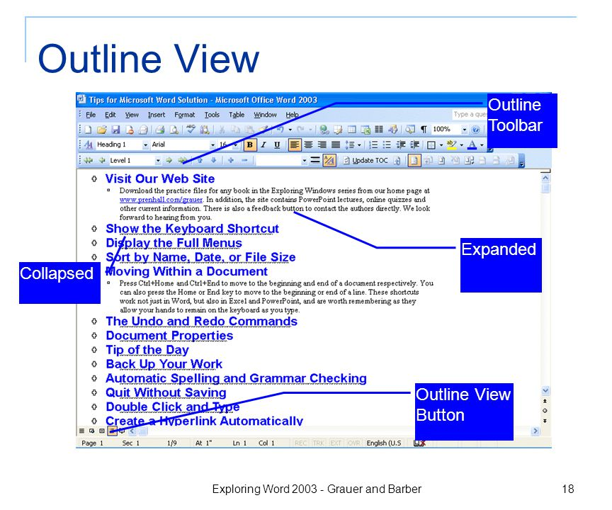 Exploring Word 2003 - Grauer and Barber 18 Outline View Outline Toolbar Outline View Button Expanded Collapsed