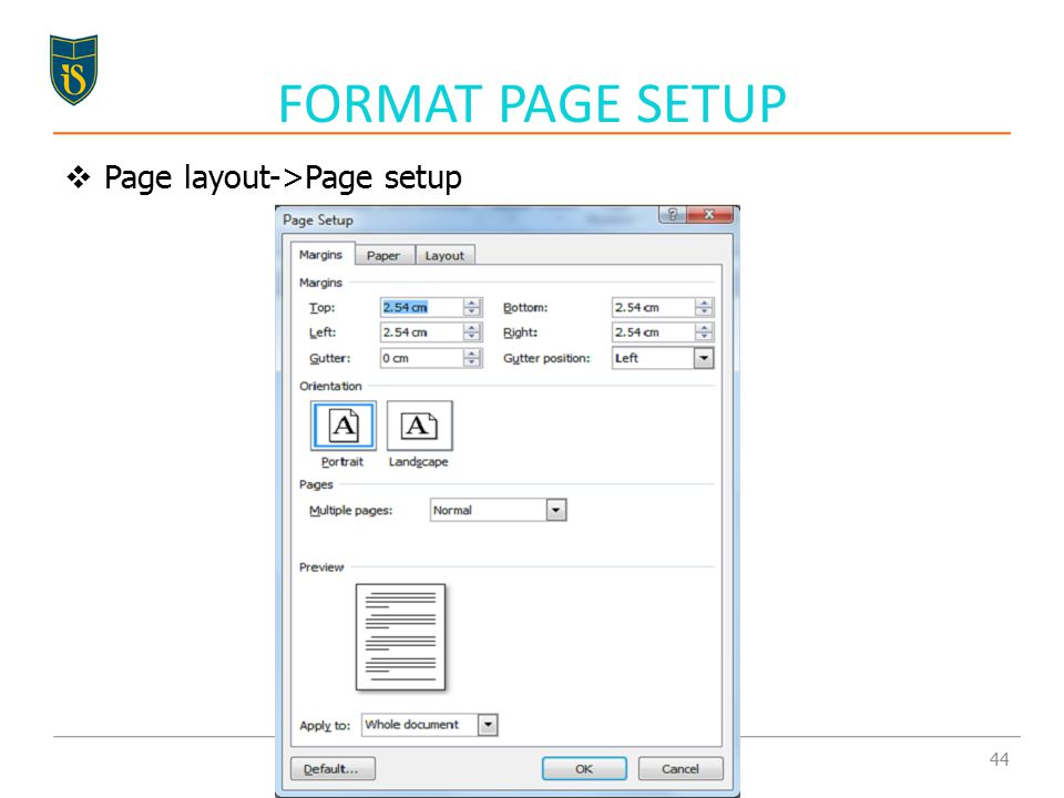  Page layout->Page setup FORMAT PAGE SETUP 44