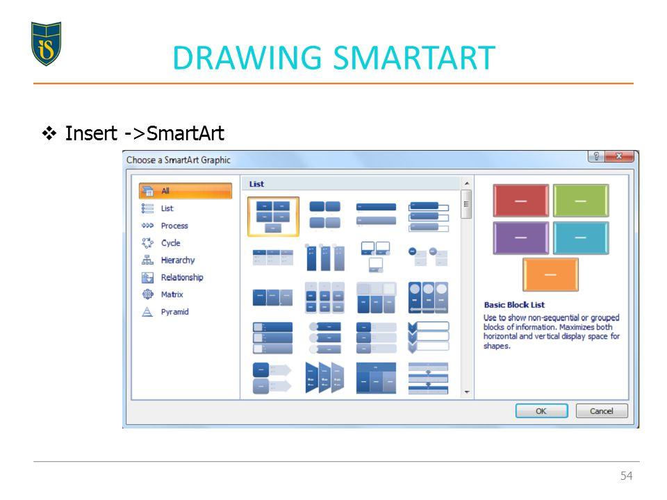 DRAWING SMARTART  Insert ->SmartArt 54