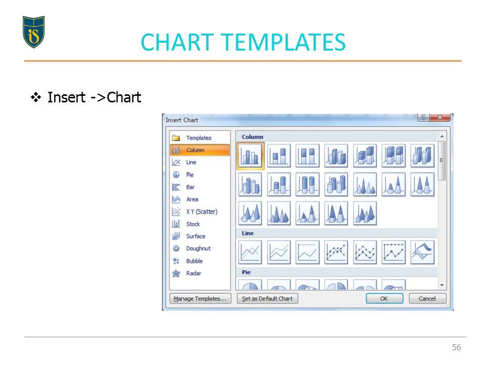 CHART TEMPLATES  Insert ->Chart 56