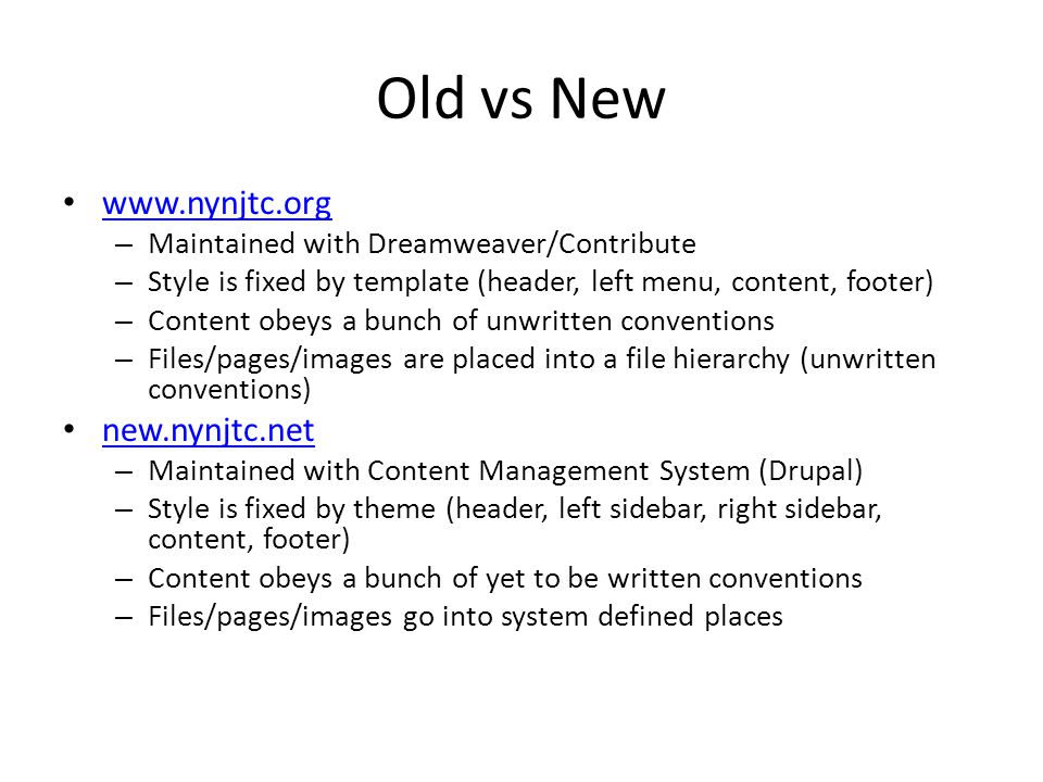 Common to Old/New Writing content for the web obeys different rules than writing for print media Usability Navigation and Information Architecture Obeying web conventions Search Engine Optimization (SEO)