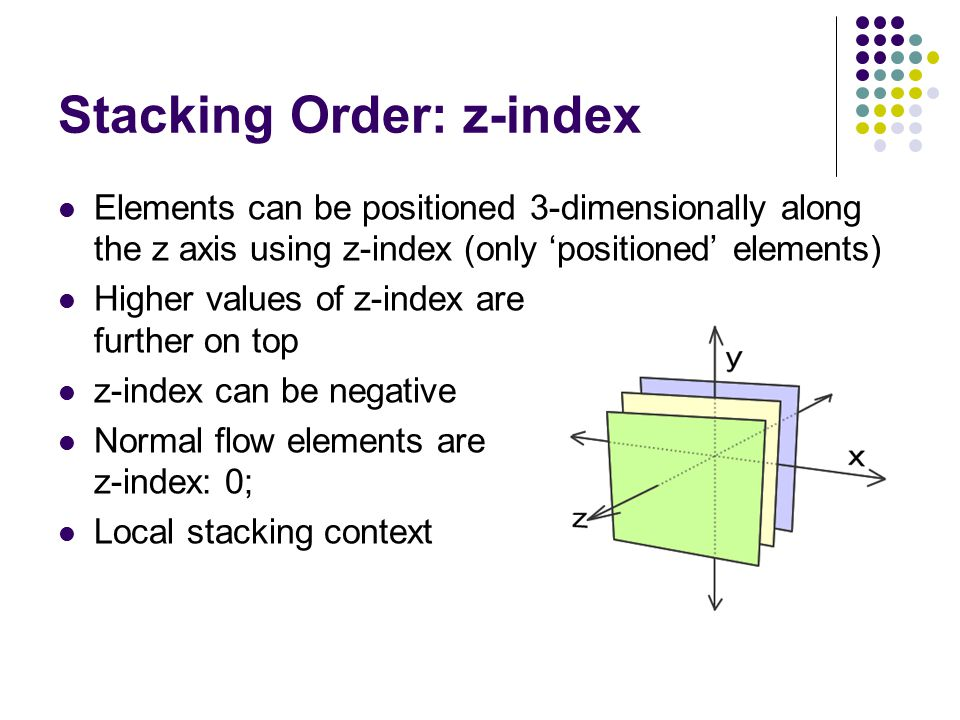 Stacking Order: z-index Elements can be positioned 3-dimensionally along the z axis using z-index (only 'positioned' elements) Higher values of z-inde