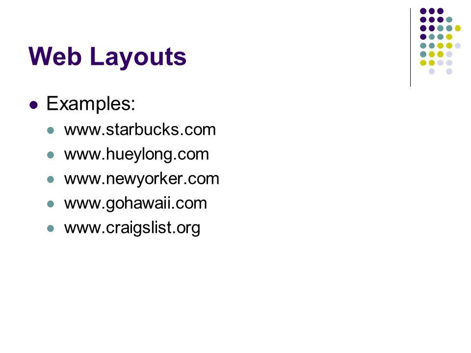 Web Layouts Examples: www.starbucks.com www.hueylong.com www.newyorker.com www.gohawaii.com www.craigslist.org