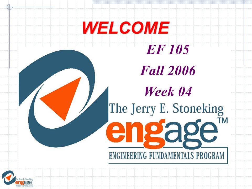 WELCOME EF 105 Fall 2006 Week 04