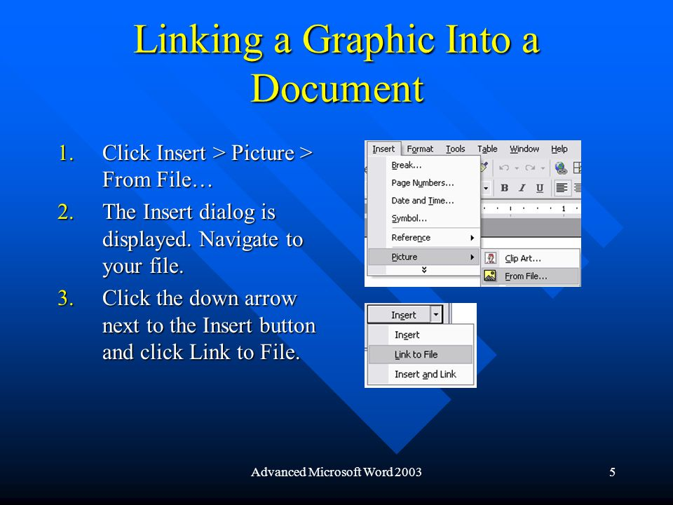 Advanced Microsoft Word 20035 Linking a Graphic Into a Document 1.Click Insert > Picture > From File… 2.The Insert dialog is displayed.
