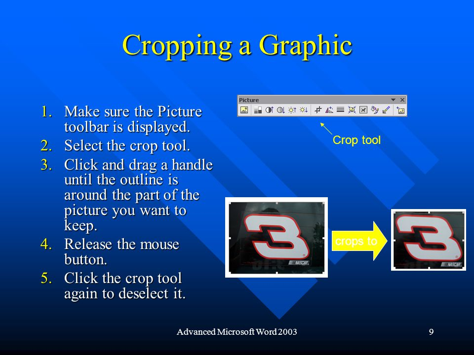 Advanced Microsoft Word 200320 Resizing a Cell 1.Select a cell or cells to resize.