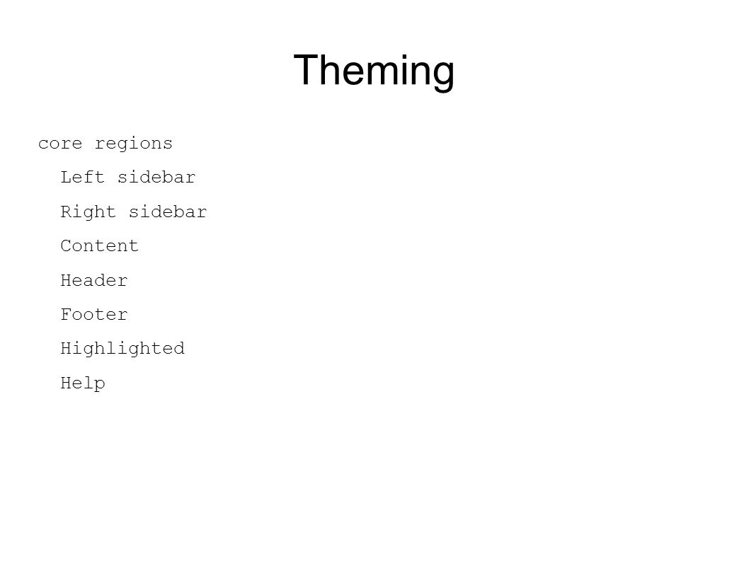 Theming core regions Left sidebar Right sidebar Content Header Footer Highlighted Help