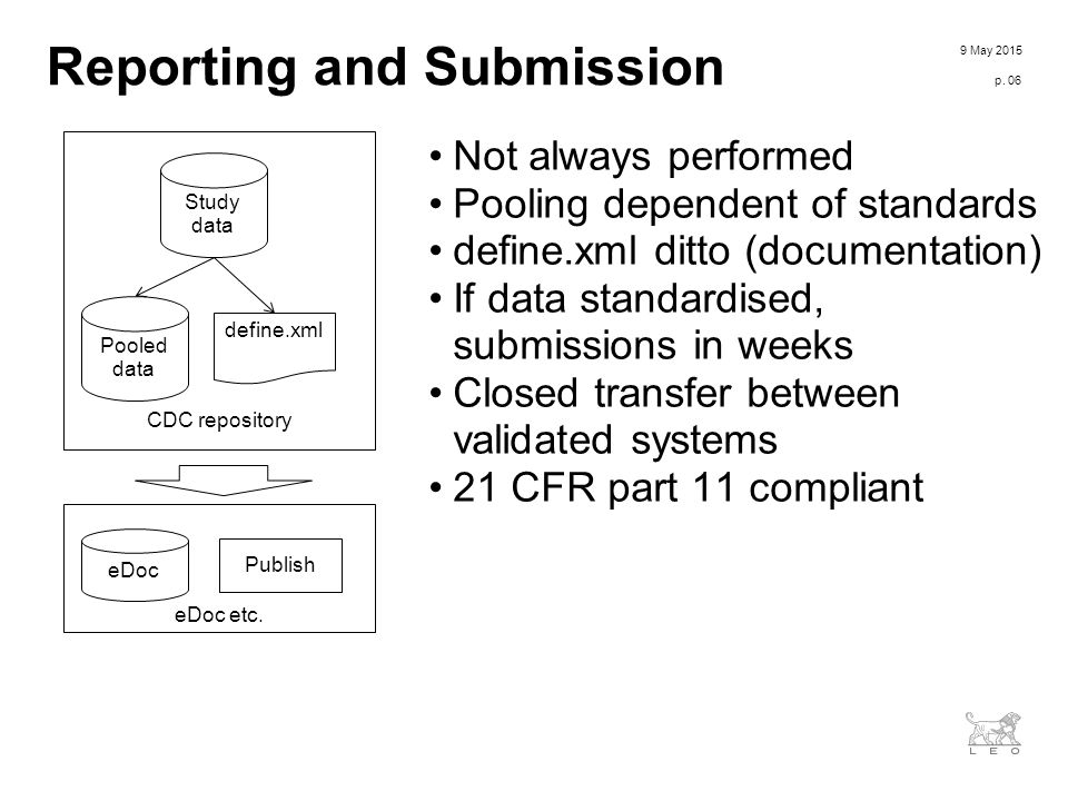 To add pre-formatted bullet text please use the Increase/Decrease Indent buttons found in the Top-PowerPoint menu CDC repository Reporting and Submission Not always performed Pooling dependent of standards define.xml ditto (documentation) If data standardised, submissions in weeks Closed transfer between validated systems 21 CFR part 11 compliant 9 May 2015 p.