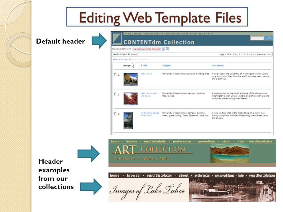 Editing Web Template Files Default header Header examples from our collections