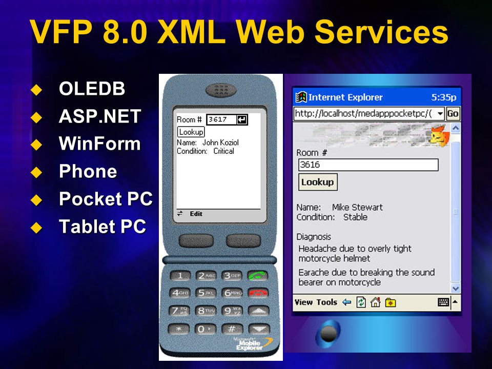 VFP 8.0 XML Web Services  OLEDB  ASP.NET  WinForm  Phone  Pocket PC  Tablet PC