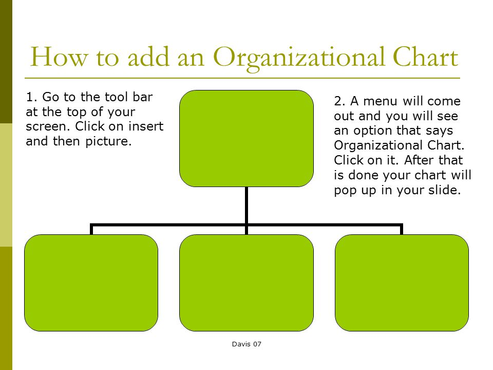 Davis 07 How to add an Organizational Chart 1. Go to the tool bar at the top of your screen. Click on insert and then picture. 2. A menu will come out