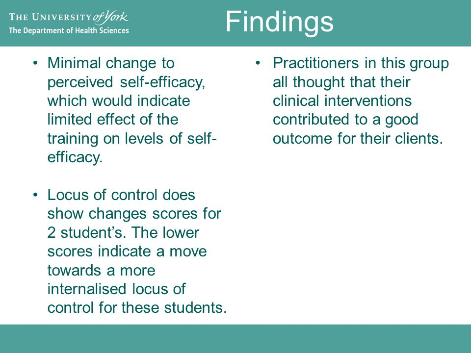Findings Minimal change to perceived self-efficacy, which would indicate limited effect of the training on levels of self- efficacy.