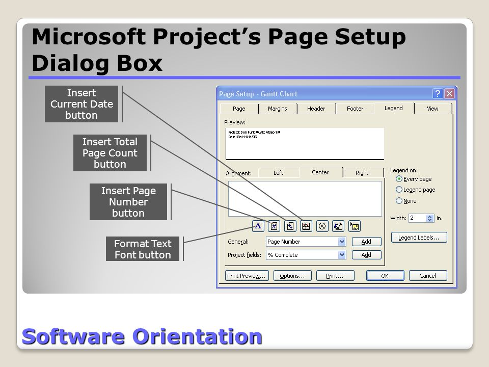 Software Orientation Insert Current Date button Insert Total Page Count button Insert Page Number button Format Text Font button Microsoft Project's P