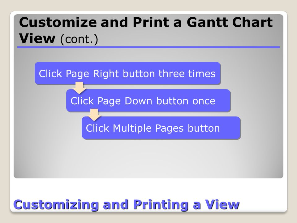 Customizing and Printing a View Click Page Down button once Click Page Right button three times Click Multiple Pages button Customize and Print a Gant