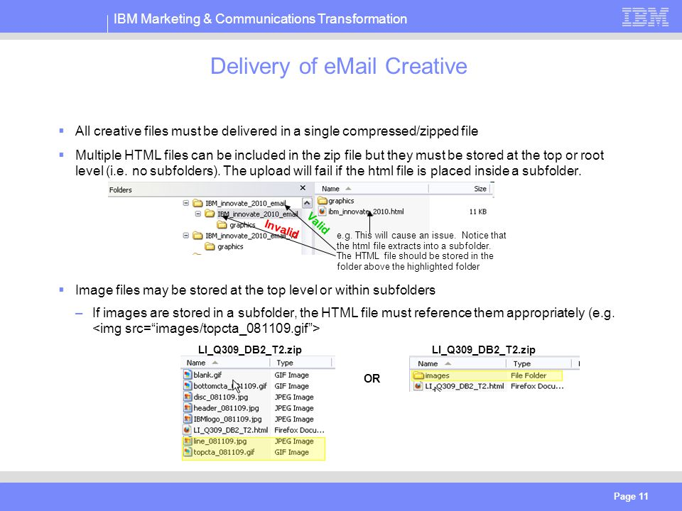 IBM Marketing & Communications Transformation Page 11 Delivery of eMail Creative  All creative files must be delivered in a single compressed/zipped file  Multiple HTML files can be included in the zip file but they must be stored at the top or root level (i.e.