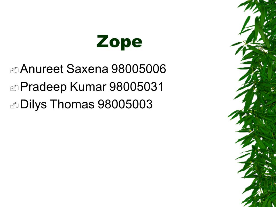  Zope is the leading Open Source web application server.