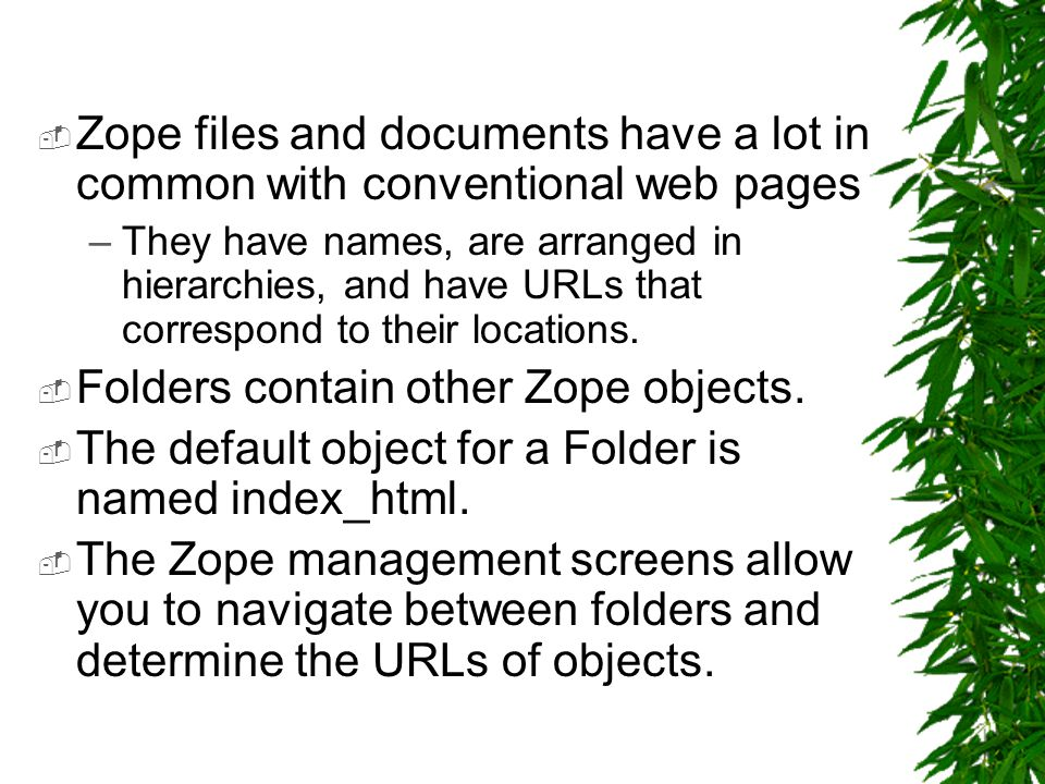  Zope files and documents have a lot in common with conventional web pages –They have names, are arranged in hierarchies, and have URLs that correspond to their locations.