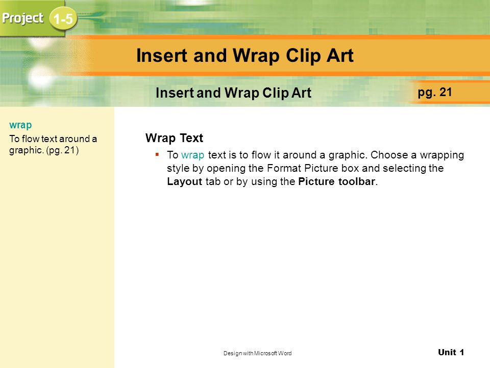 Unit 1 Design with Microsoft Word Insert and Wrap Clip Art pg.