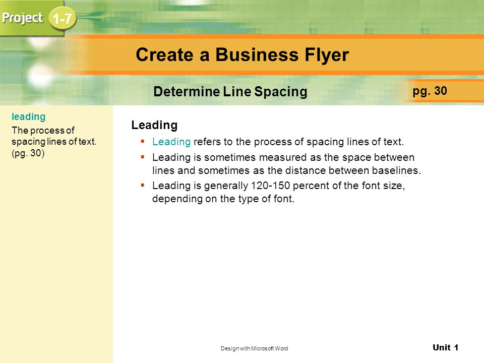 Unit 1 Design with Microsoft Word Create a Business Flyer pg.