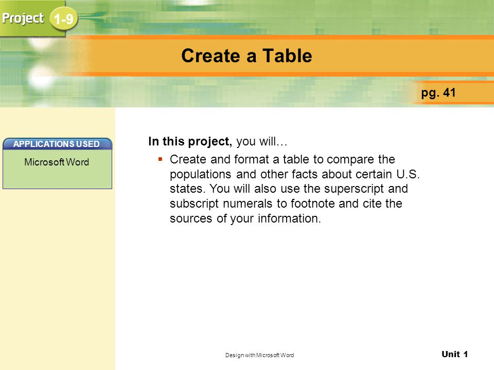 Unit 1 Design with Microsoft Word Create a Table pg. 41 In this project, you will…  Create and format a table to compare the populations and other fa