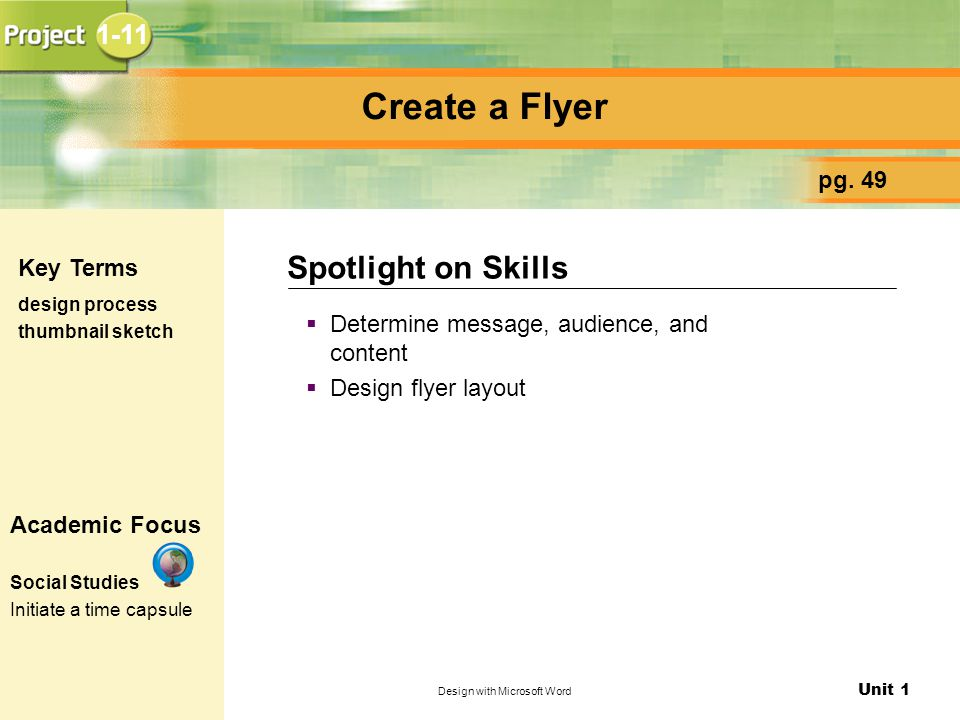 Unit 1 Design with Microsoft Word Create a Flyer  Determine message, audience, and content  Design flyer layout Spotlight on Skills pg.
