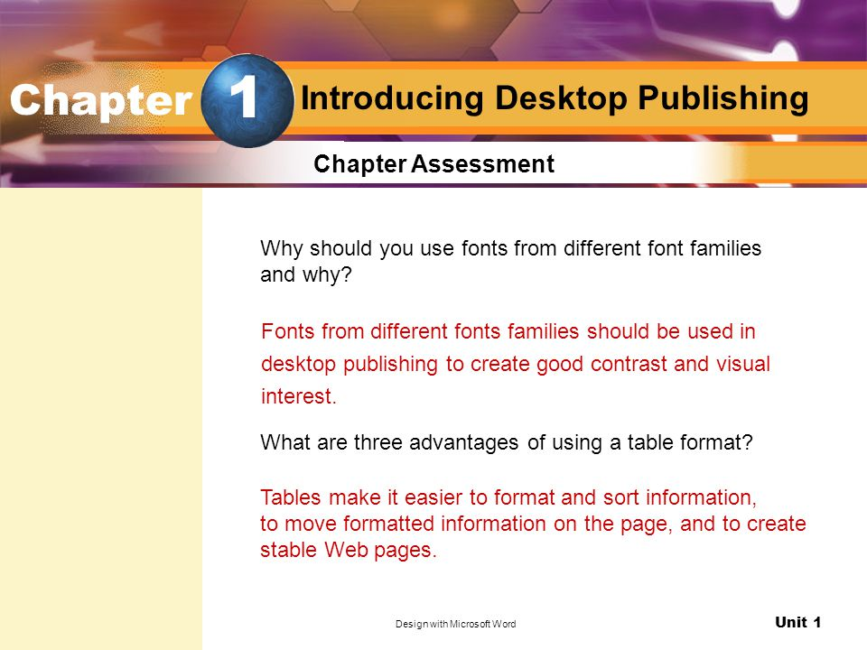 Unit 1 Design with Microsoft Word Introducing Desktop Publishing Chapter Assessment Why should you use fonts from different font families and why.