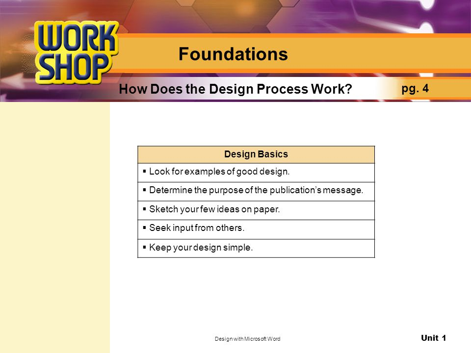 Unit 1 Design with Microsoft Word How Does the Design Process Work.