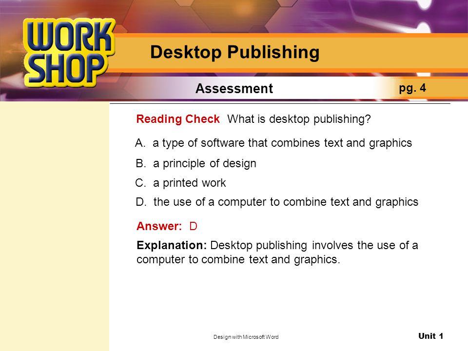 Unit 1 Design with Microsoft Word Desktop Publishing Assessment pg.