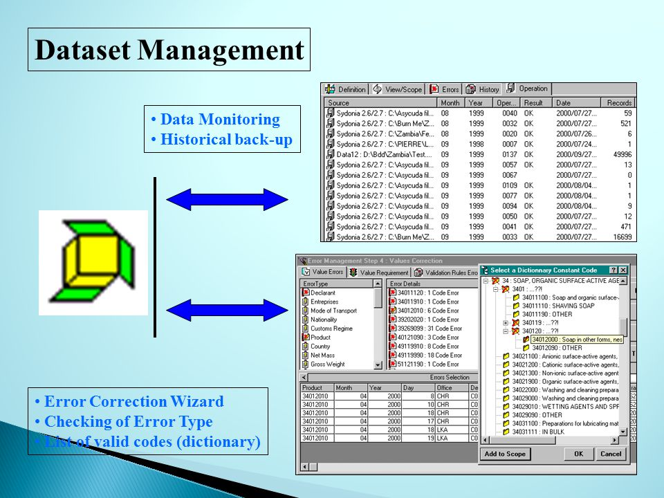 Dataset Management Data Monitoring Historical back-up Error Correction Wizard Checking of Error Type List of valid codes (dictionary)