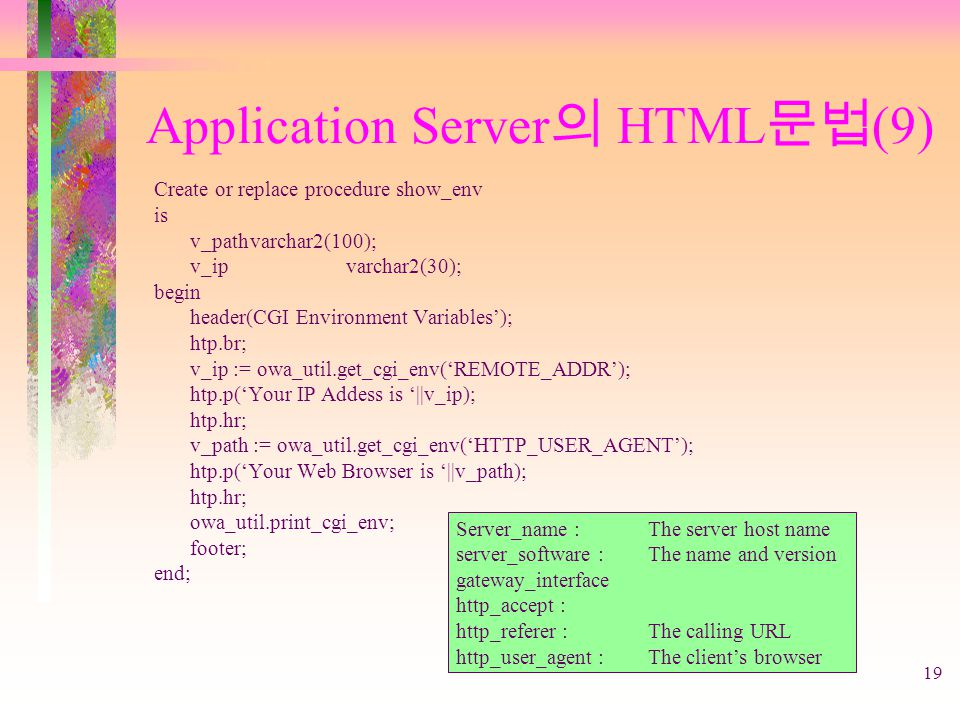 19 Application Server 의 HTML 문법 (9) Create or replace procedure show_env is v_pathvarchar2(100); v_ipvarchar2(30); begin header(CGI Environment Variab