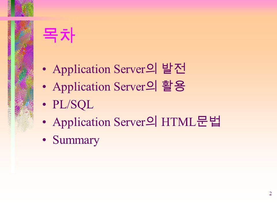 2 목차 Application Server 의 발전 Application Server 의 활용 PL/SQL Application Server 의 HTML 문법 Summary