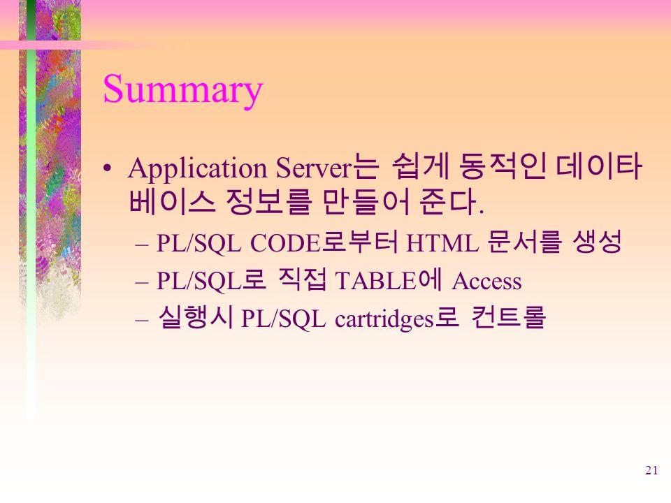 21 Summary Application Server 는 쉽게 동적인 데이타 베이스 정보를 만들어 준다.