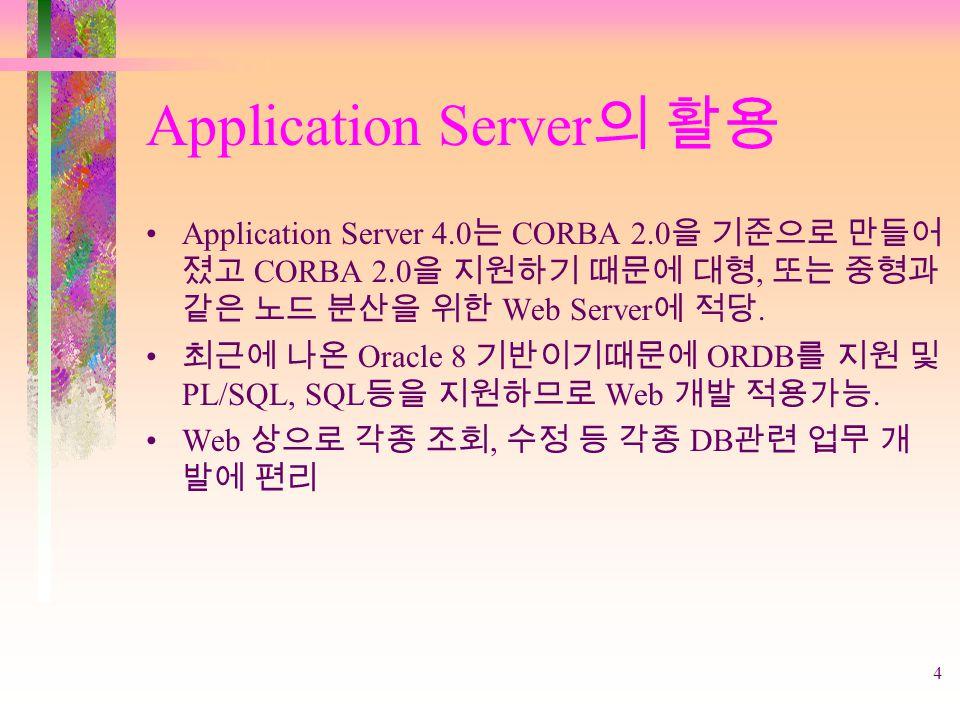 4 Application Server 의 활용 Application Server 4.0 는 CORBA 2.0 을 기준으로 만들어 졌고 CORBA 2.0 을 지원하기 때문에 대형, 또는 중형과 같은 노드 분산을 위한 Web Server 에 적당.