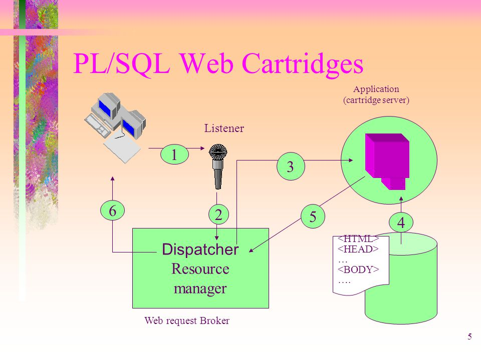 5 PL/SQL Web Cartridges Dispatcher Resource manager Application (cartridge server) … …. 1 6 2 3 4 5 Listener Web request Broker