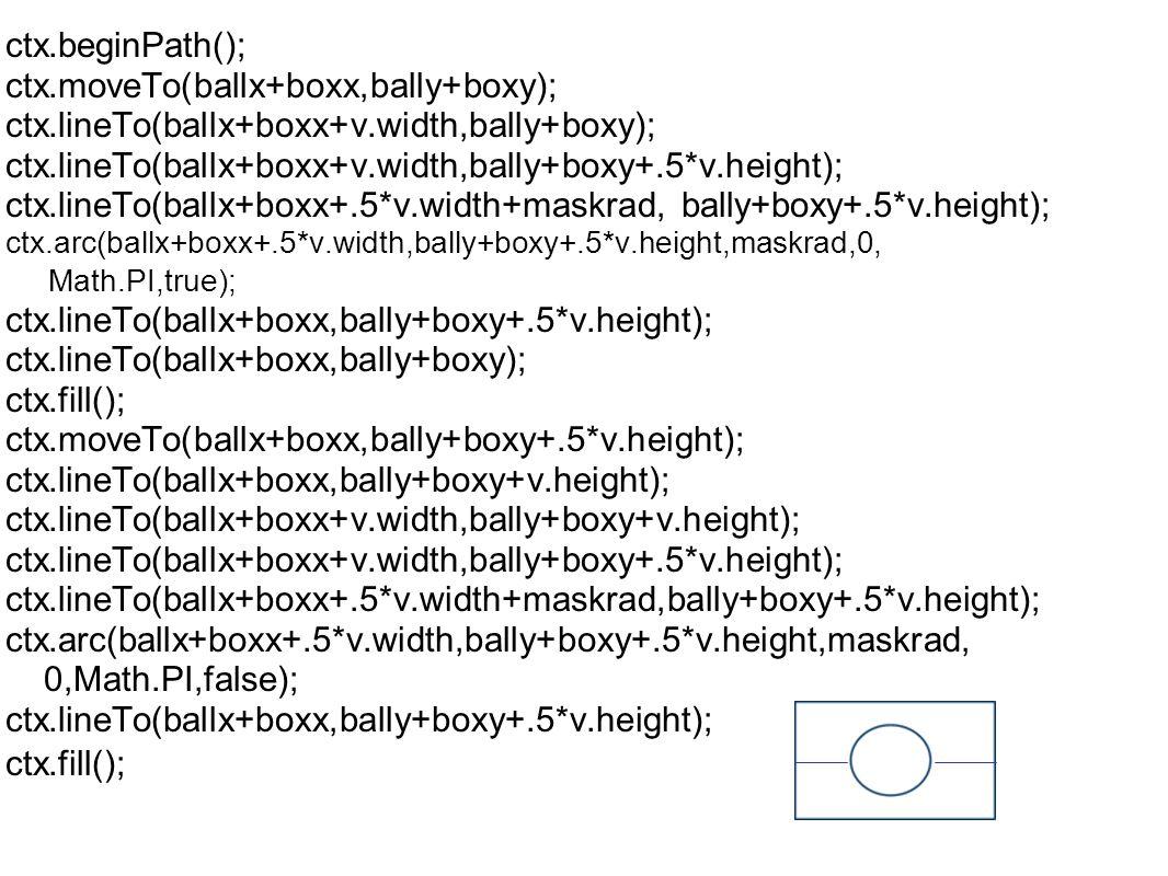ctx.beginPath(); ctx.moveTo(ballx+boxx,bally+boxy); ctx.lineTo(ballx+boxx+v.width,bally+boxy); ctx.lineTo(ballx+boxx+v.width,bally+boxy+.5*v.height); ctx.lineTo(ballx+boxx+.5*v.width+maskrad, bally+boxy+.5*v.height); ctx.arc(ballx+boxx+.5*v.width,bally+boxy+.5*v.height,maskrad,0, Math.PI,true); ctx.lineTo(ballx+boxx,bally+boxy+.5*v.height); ctx.lineTo(ballx+boxx,bally+boxy); ctx.fill(); ctx.moveTo(ballx+boxx,bally+boxy+.5*v.height); ctx.lineTo(ballx+boxx,bally+boxy+v.height); ctx.lineTo(ballx+boxx+v.width,bally+boxy+v.height); ctx.lineTo(ballx+boxx+v.width,bally+boxy+.5*v.height); ctx.lineTo(ballx+boxx+.5*v.width+maskrad,bally+boxy+.5*v.height); ctx.arc(ballx+boxx+.5*v.width,bally+boxy+.5*v.height,maskrad, 0,Math.PI,false); ctx.lineTo(ballx+boxx,bally+boxy+.5*v.height); ctx.fill();