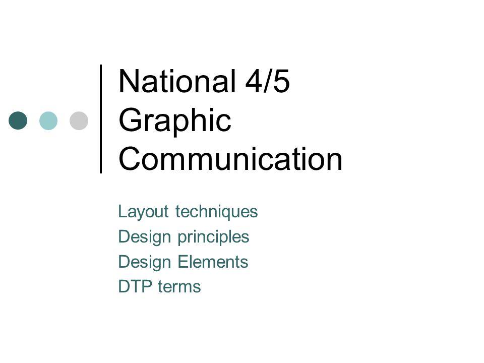 National 4/5 Graphic Communication Layout techniques Design principles Design Elements DTP terms