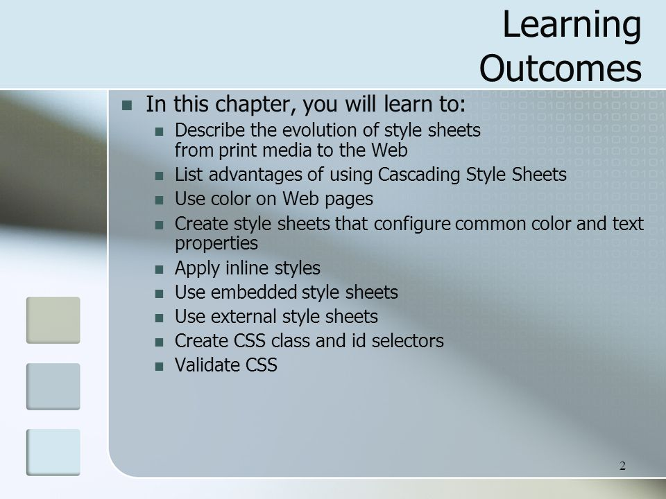 3 Overview of Cascading Style Sheets (CSS) See what is possible with CSS: Visit http://www.zengarden.comhttp://www.zengarden.com Style Sheets used for years in Desktop Publishing apply typographical styles and spacing to printed media CSS provides the functionality of style sheets (and much more) for web developers a flexible, cross-platform, standards-based language developed by the W3C.