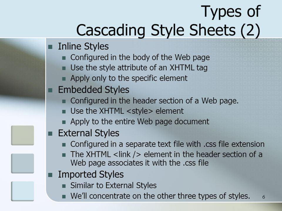 7 CSS Syntax Style sheets are composed of Rules that describe the styling to be applied.