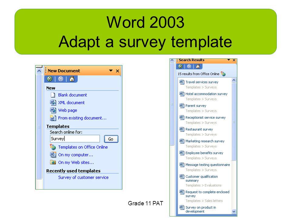 Word 2003 Adapt a survey template Grade 11 PAT