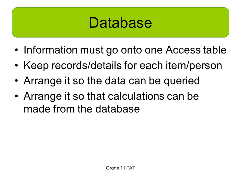 Database Information must go onto one Access table Keep records/details for each item/person Arrange it so the data can be queried Arrange it so that calculations can be made from the database Grade 11 PAT