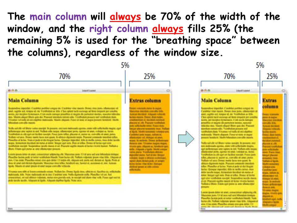"15 The main column will always be 70% of the width of the window, and the right column always fills 25% (the remaining 5% is used for the ""breathing s"