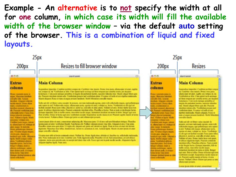 16 Example - An alternative is to not specify the width at all for one column, in which case its width will fill the available width of the browser wi
