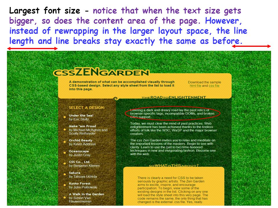 43 Largest font size - notice that when the text size gets bigger, so does the content area of the page. However, instead of rewrapping in the larger