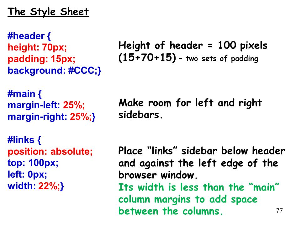 77 The Style Sheet #header { height: 70px; padding: 15px; background: #CCC;} #main { margin-left: 25%; margin-right: 25%;} #links { position: absolute; top: 100px; left: 0px; width: 22%;} Height of header = 100 pixels (15+70+15) – two sets of padding Make room for left and right sidebars.
