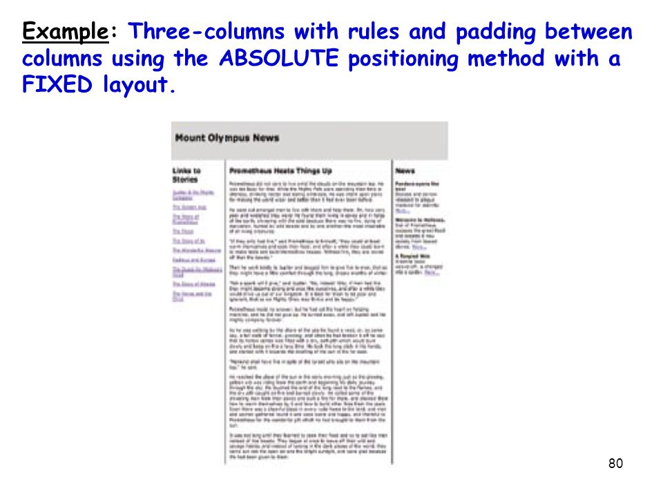 80 Example: Three-columns with rules and padding between columns using the ABSOLUTE positioning method with a FIXED layout.